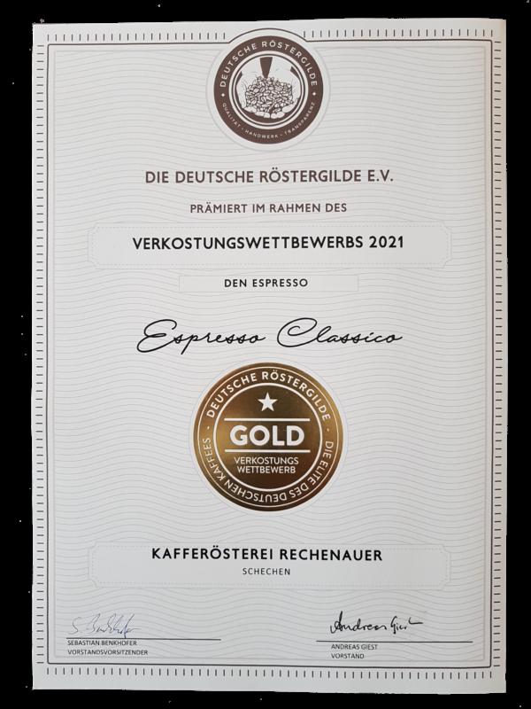 Deutsche Röstergilde 2021 Espresso classico GOLD